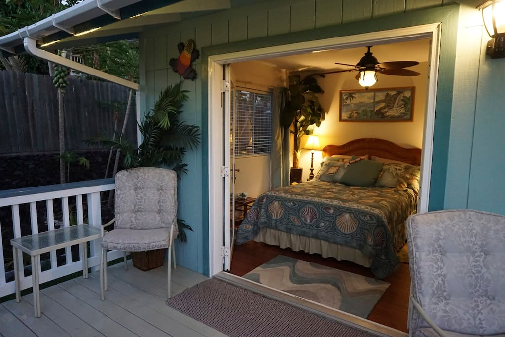 "The ""Seashell Room"" has french doors that open on to the big lanai."
