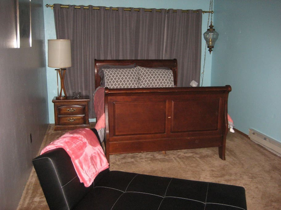 Large room! Chaise lounge in a Click Clack and would be comfortable for a child to sleep on (additional fee for additional person)