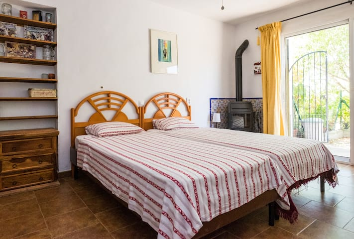 Bedroom 5 is also on the ground floor and has a traditional wood burning stove.