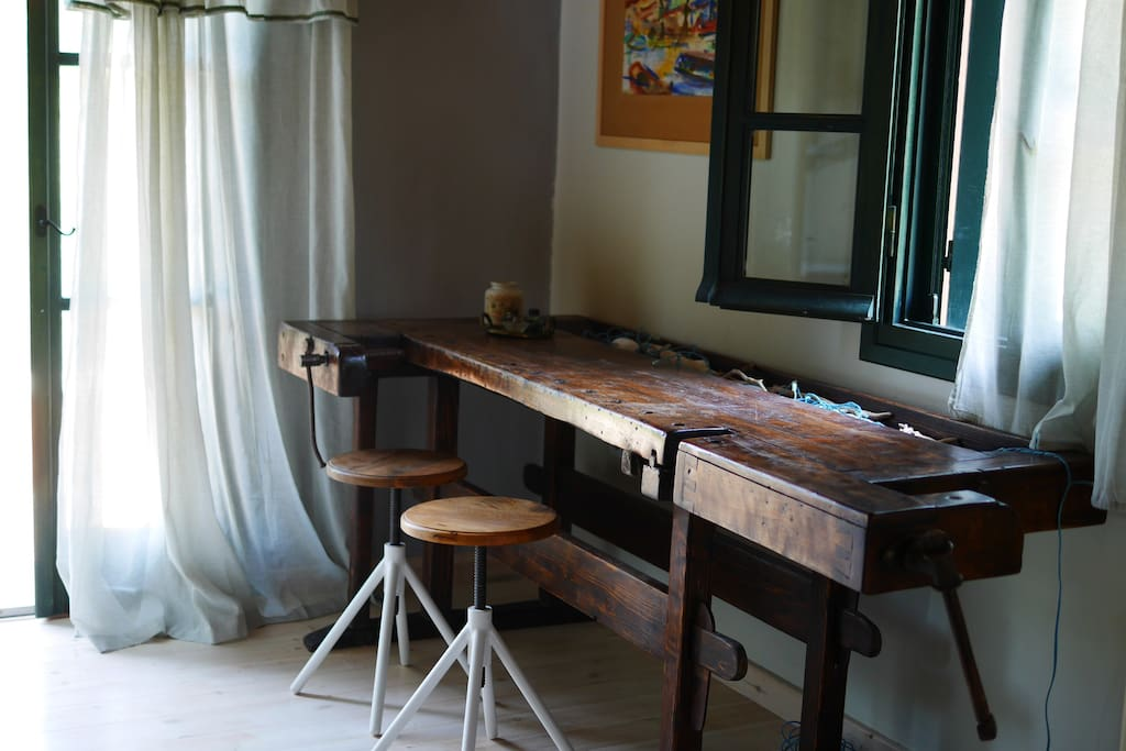 The anitique desk on the first floor