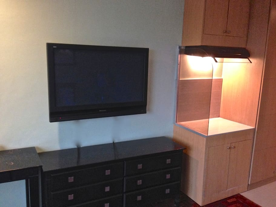 Flat Screen Tv with small kitchenette
