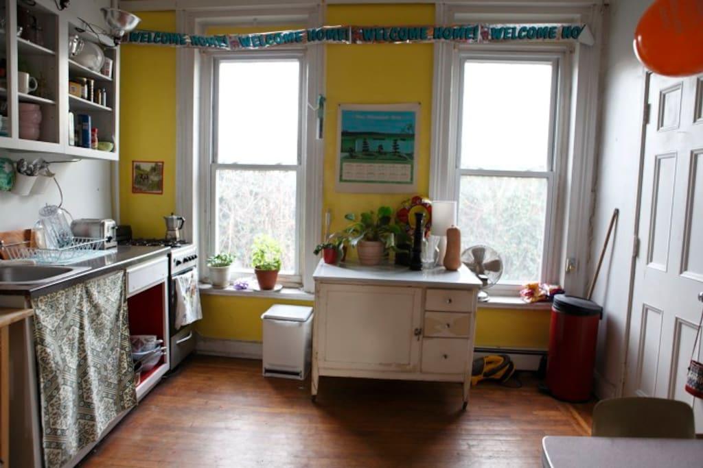 kitchen alternate view/door leads to bedroom