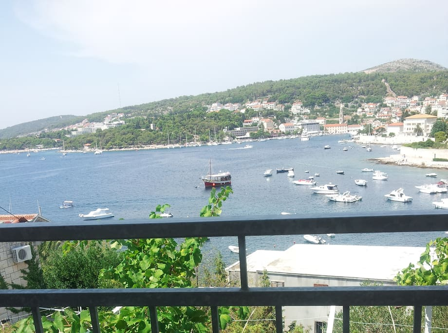 Morning coffee with a view of the city of Hvar