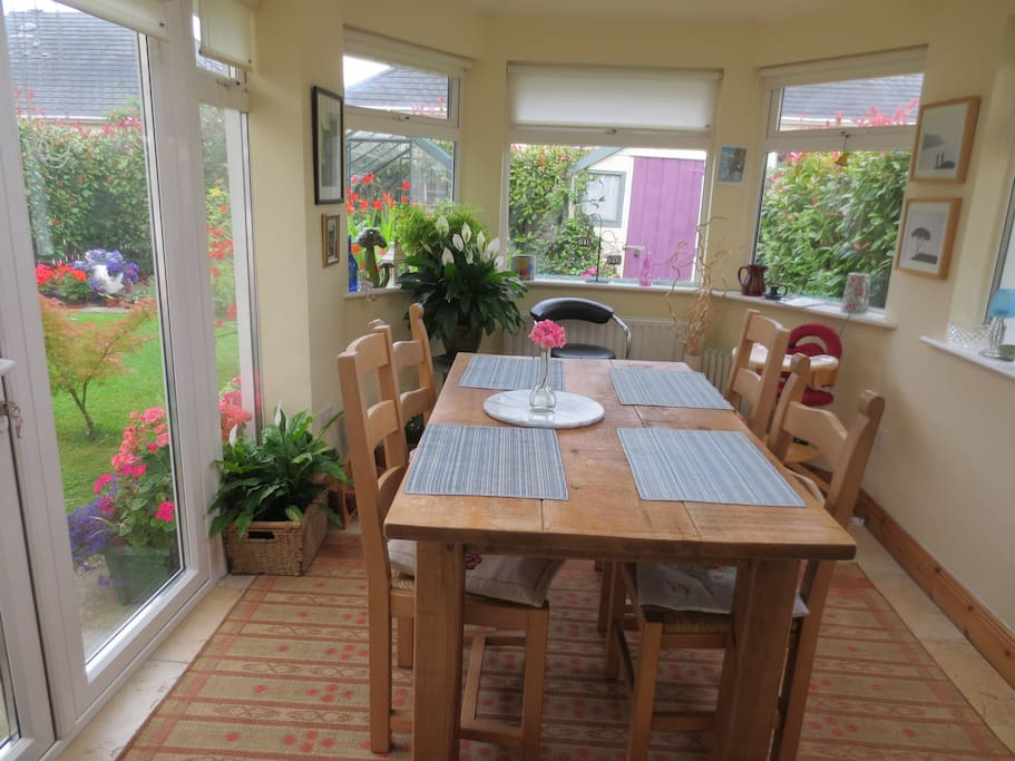Dining area overlooking the garden