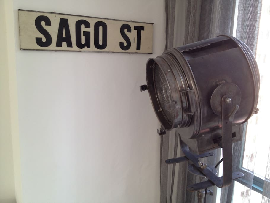Cremer projector. A piece of French theater history. Old street sign from Singapore.