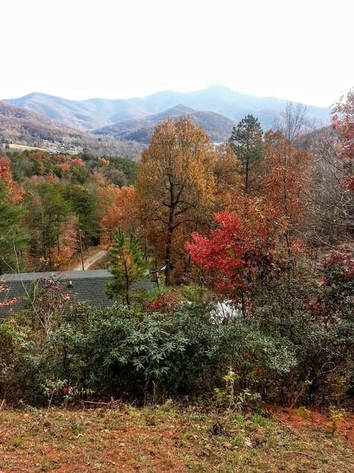 Fall view .Enjoy the beautiful foliage this region offers This is the view from the porch that spans the the entire front of the house.
