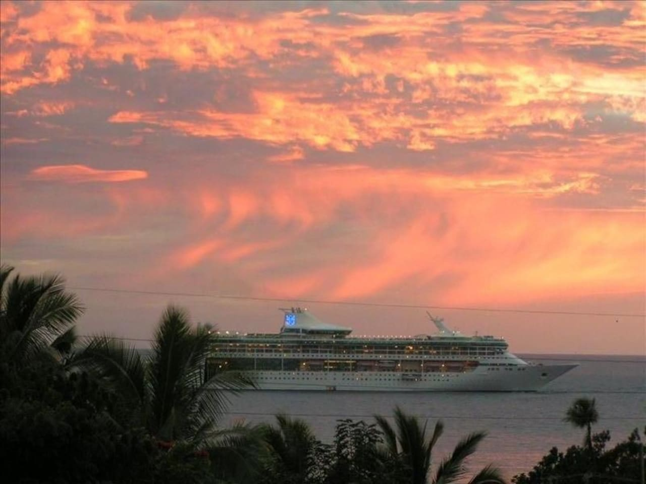 Cruise ship in the bay.  Picture taken from the lanai!