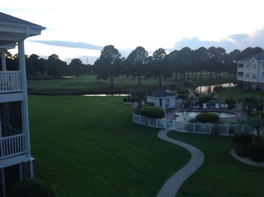 Pool and golf view (evening)