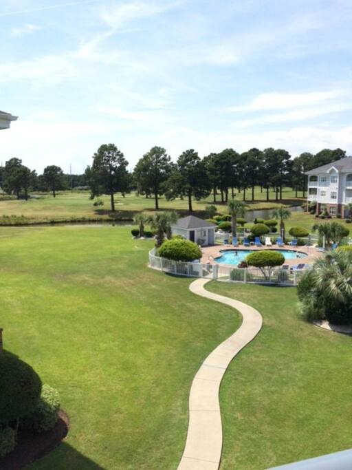 Pool and golf view (day)
