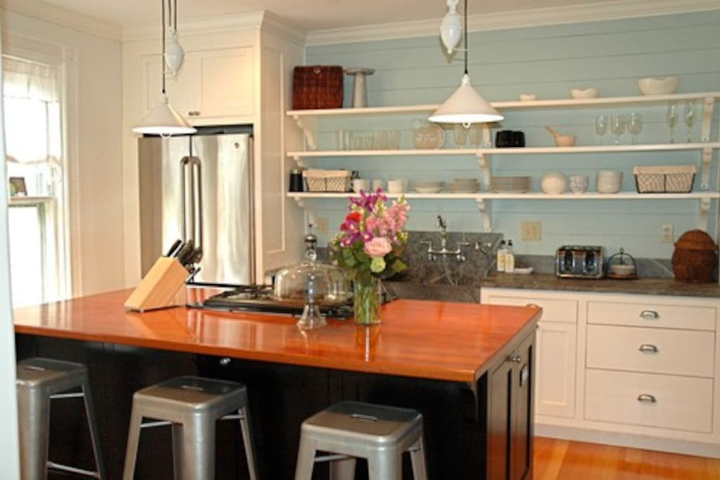 Open kitchen with high end appliances