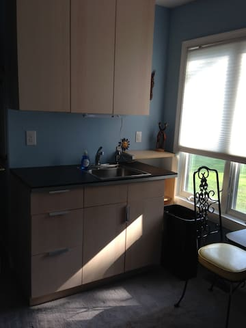 small sink and prep area. With microwave & coffee maker