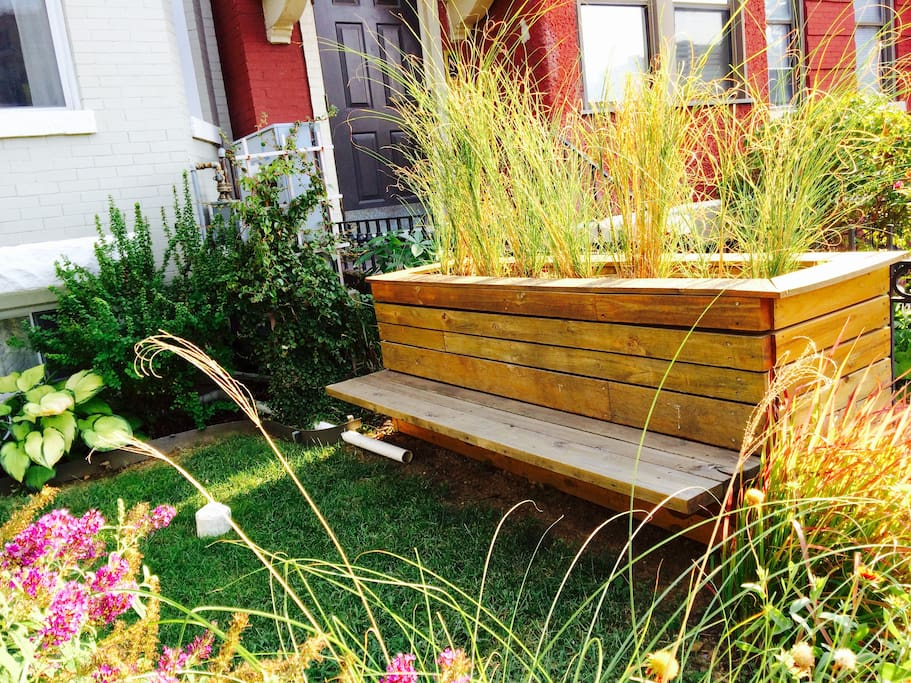 The front yard bench, perfect for front yard coffee (or adult beverage) drinking.