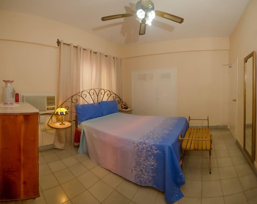 Habitación Privada, climatizada con aire acondicionado, lámapra ventilador de techo, caja de seguridad, gavetero, closet y demás comodidades