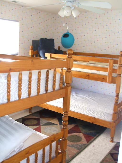 Two sets of bunks in the kids room