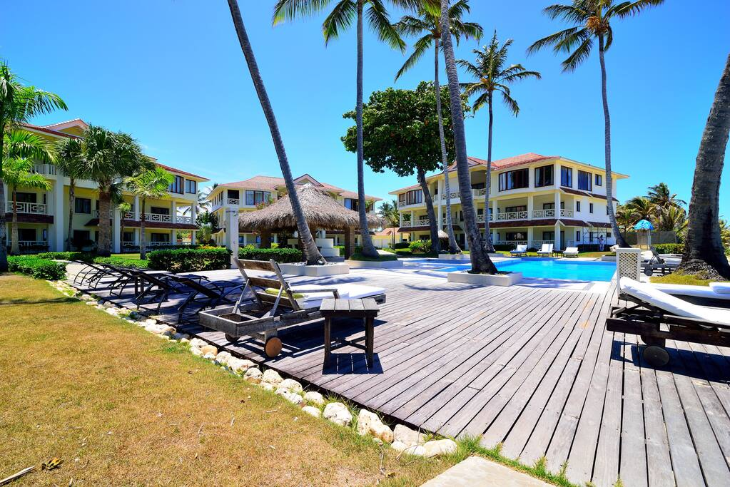 Pool deck, right in front of condo.
