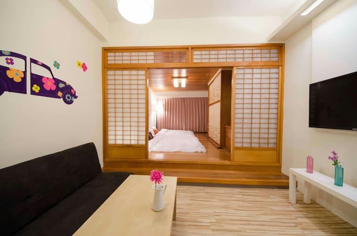 A.日式和風&歡樂寶藏屋大套房給4~6人步行一分鐘到羅東夜市,供洗衣服