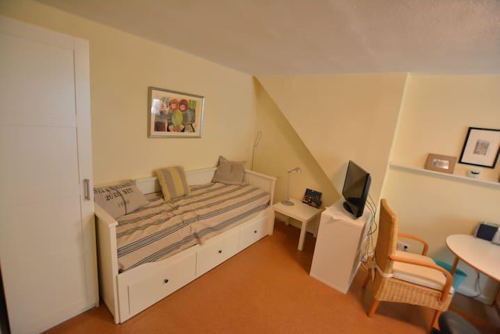 Living and sleeping room with extendible daybed (2 persons) - Wohn- und Schlafraum mit auszieh barer Schlafcouch zum vollwertigen Bett (2 Personen)