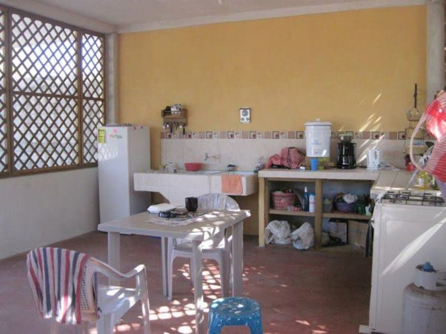 Downstairs kitchen is spacious
