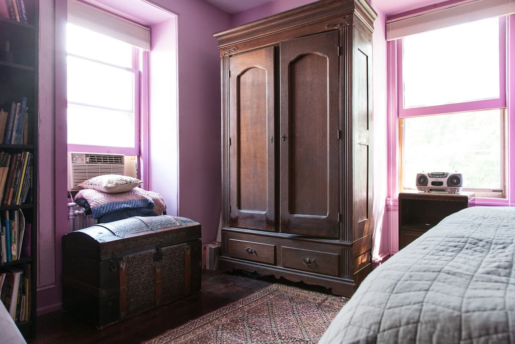 Here's the antique wardrobe in the corner of your room.