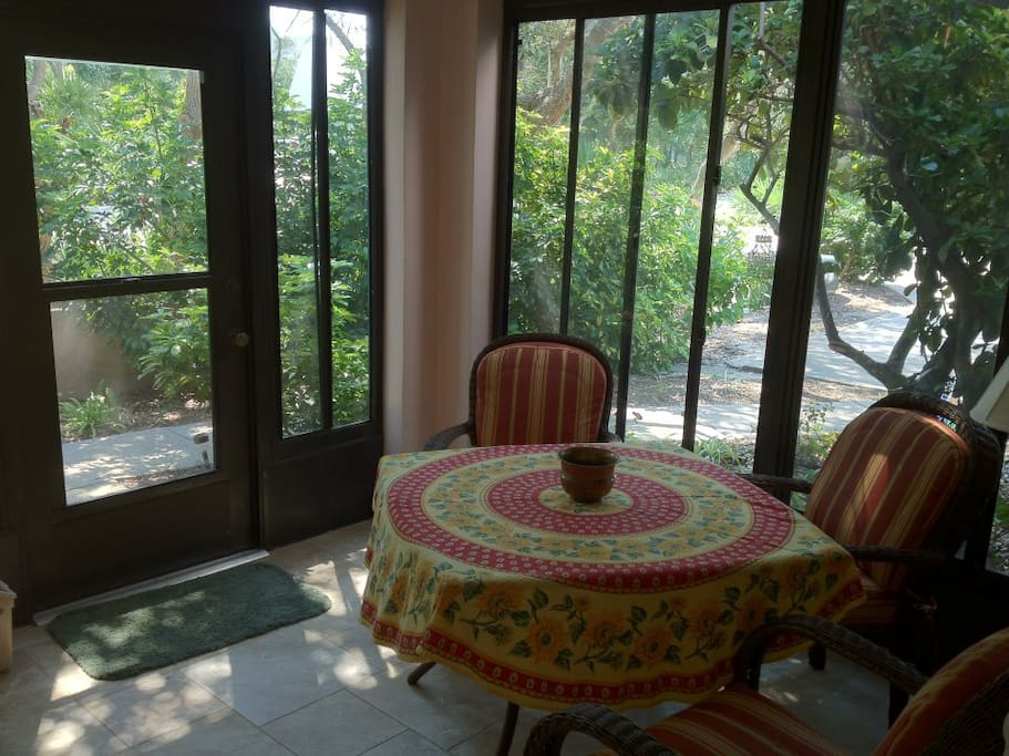 Our relaxing enclosed patio is perfect for morning and evening meals.