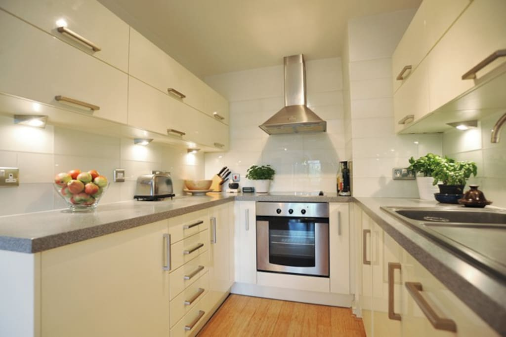 Fully fitted modern kitchen with washer /dryer, dishwasher, fridge, freezer