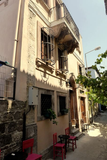 Our lovely house in its narrow street close to the centre of Ayvalık