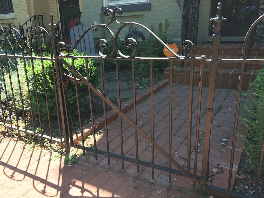 Original wrought iron gate and fencing.....