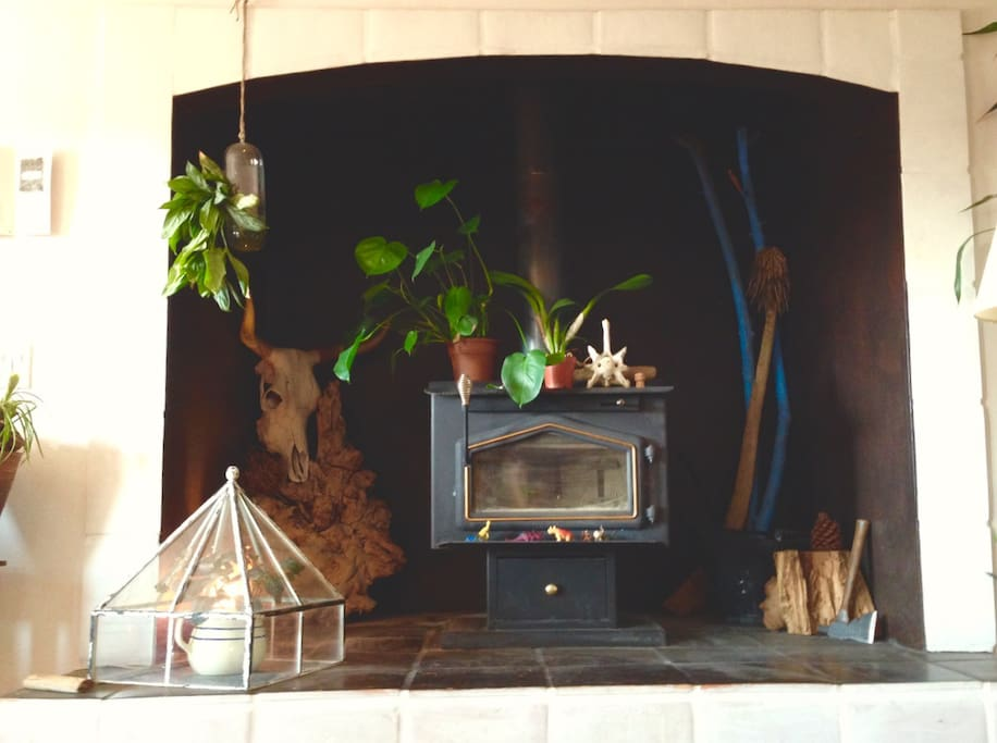 one of two wood-burning stoves