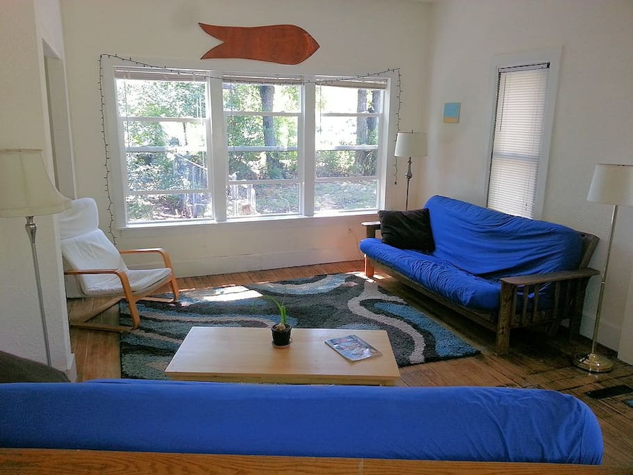 Living room -- big, open, and full of air and light. Two full-size fold-out futons.