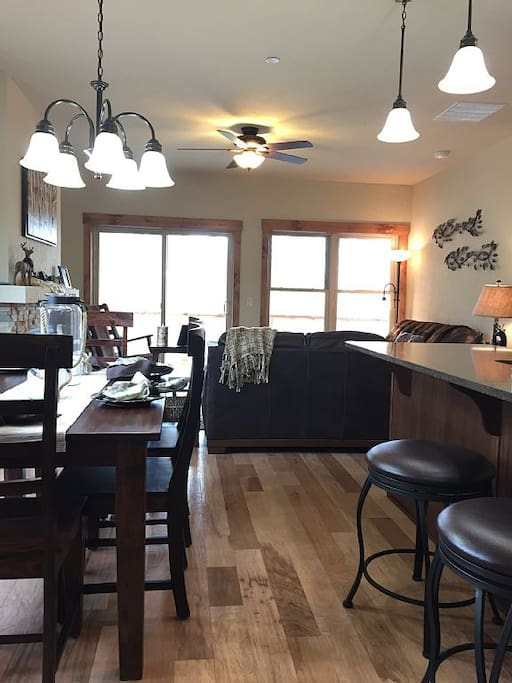 Open concept kitchen, dining and living space is perfect after a day on the slopes