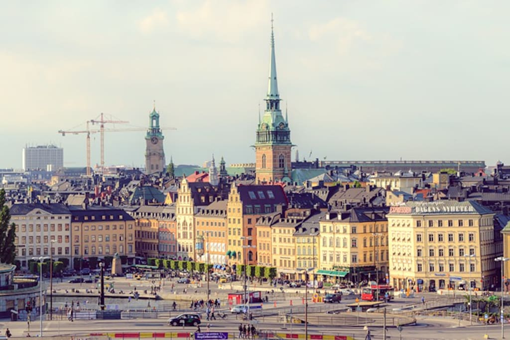 View of Slussen and Gamla Stan (the Old Town) .