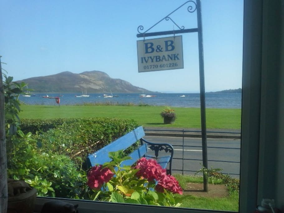 View from the lounge to Holy Isle