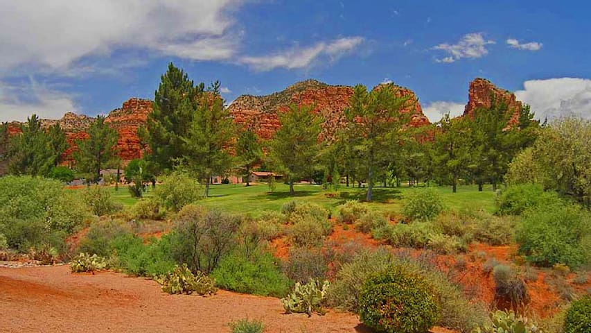 This is the view from your deck Sedona Golf Rental House