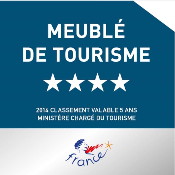 Classification 4 étoiles meublé de tourisme 2015