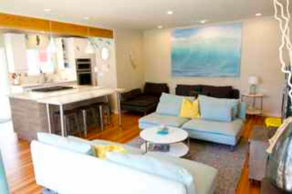 Entertain in Super Open Concept Bright, Beachy Living, Dining, Drinking and Cooking Spaces!