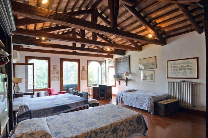 Attic bedroom in turret