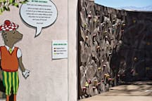 Rock wall and kids area