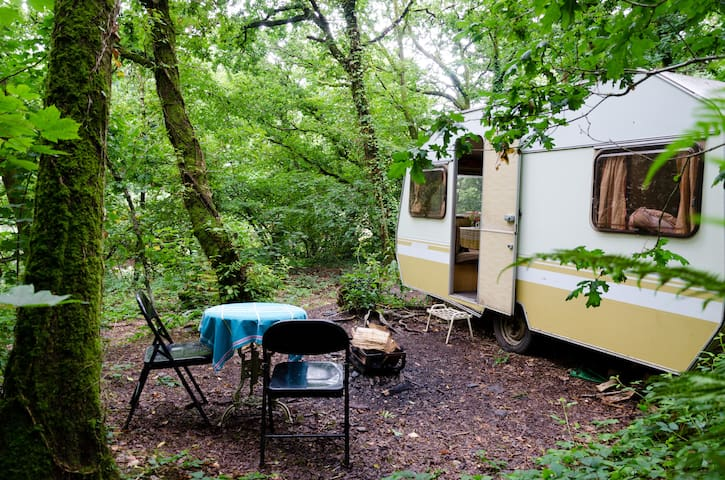 Vintage caravan in a quarry - Ashbrittle