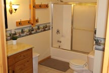 'The Duck Room'   This bathroom features all artwork of ducks.   Large bathroom fully stocked with towels