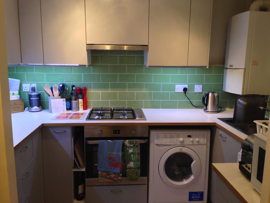 Really well equipped  kitchen - gas hob, dishwasher and washing machine.