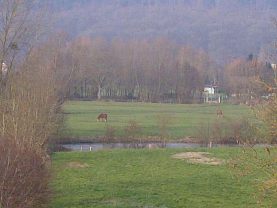 La vue sur la campagne et la rivière