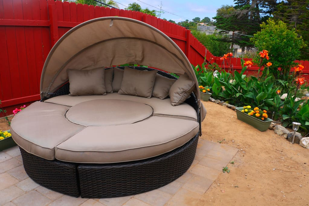 The outdoor daybed.  Take a nap out here, or separate the pieces for 4 stools and a table.