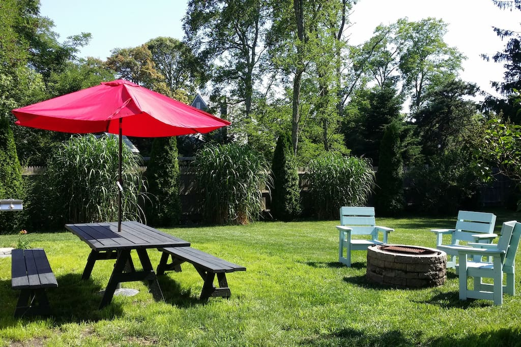 Picnic Table, grill and firepit