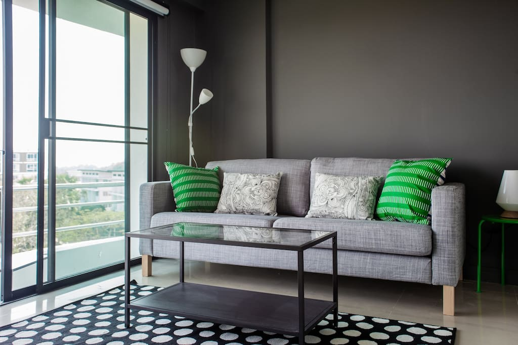 Bright, comfortable and stylish living space. Furnishings from Ikea in Bangkok.