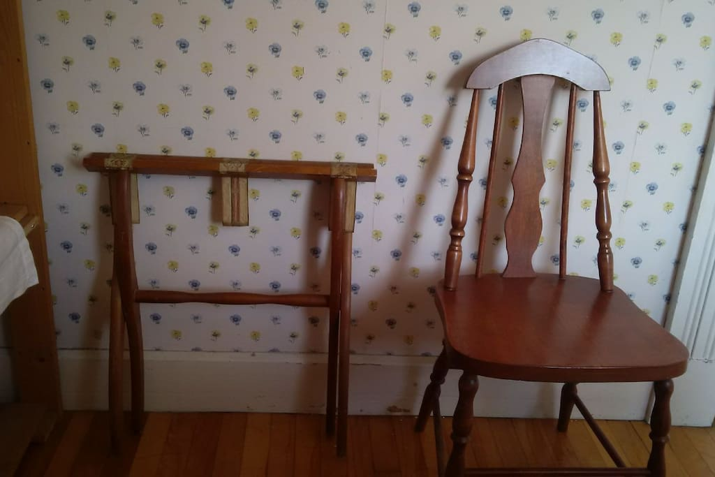Luggage rack and chair in the room for you.