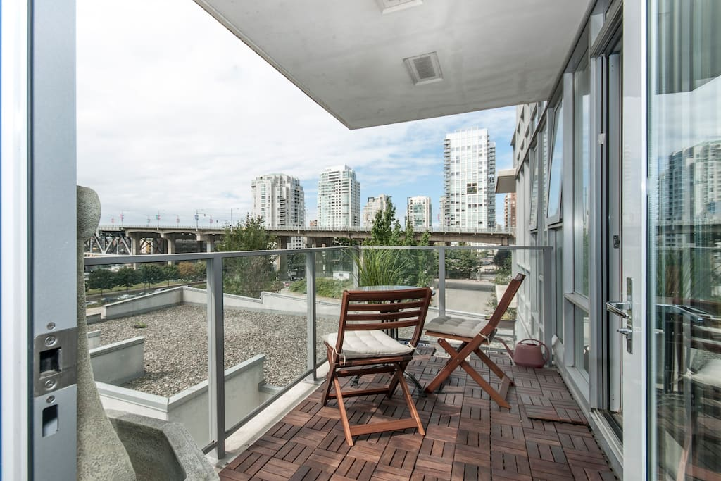 Balcony with view of false creek and Granville Island