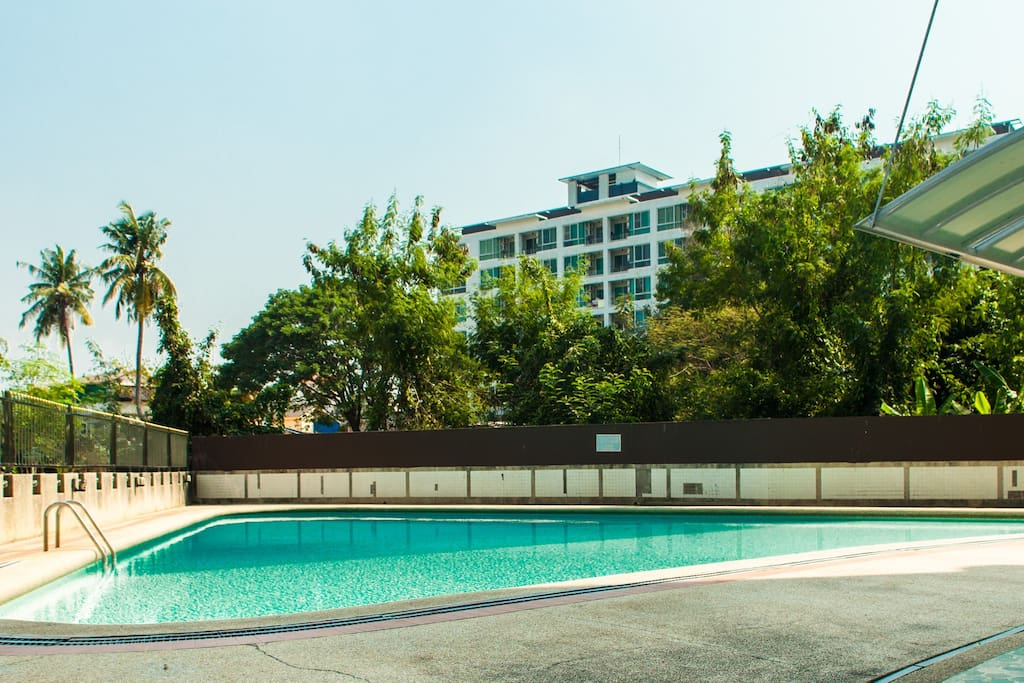 Beautiful outdoor pool area. (Often totally empty and yours to use for free!)