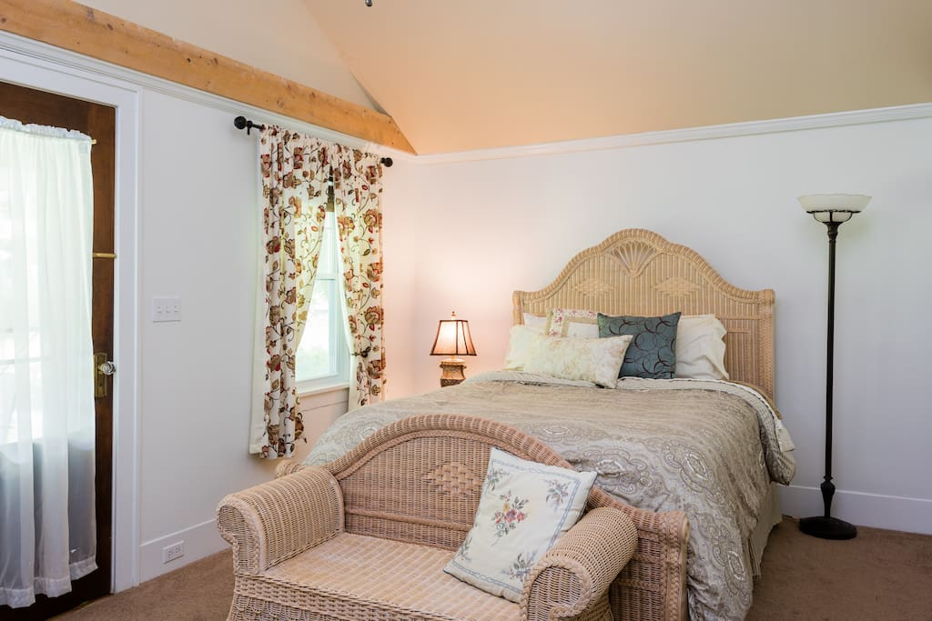 The Master suite has locally hewn beams supporting a cathedral ceiling.  Enjoy a double size cedar closet and coffee/tea on the porch just outside the door!
