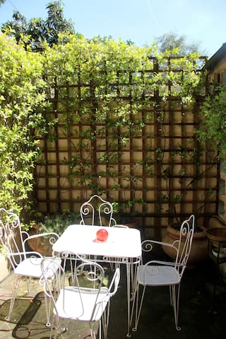 The garden with table and chairs.