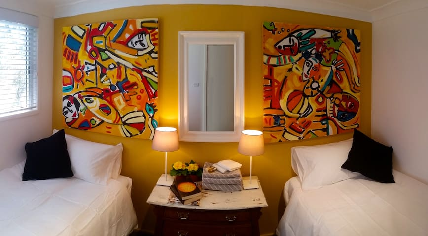 Twin bedroom with king singles for your additional guests
